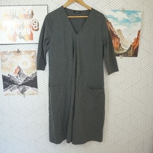 eShakti stretch Grey Jersey Knit 3/4 sleeve dress